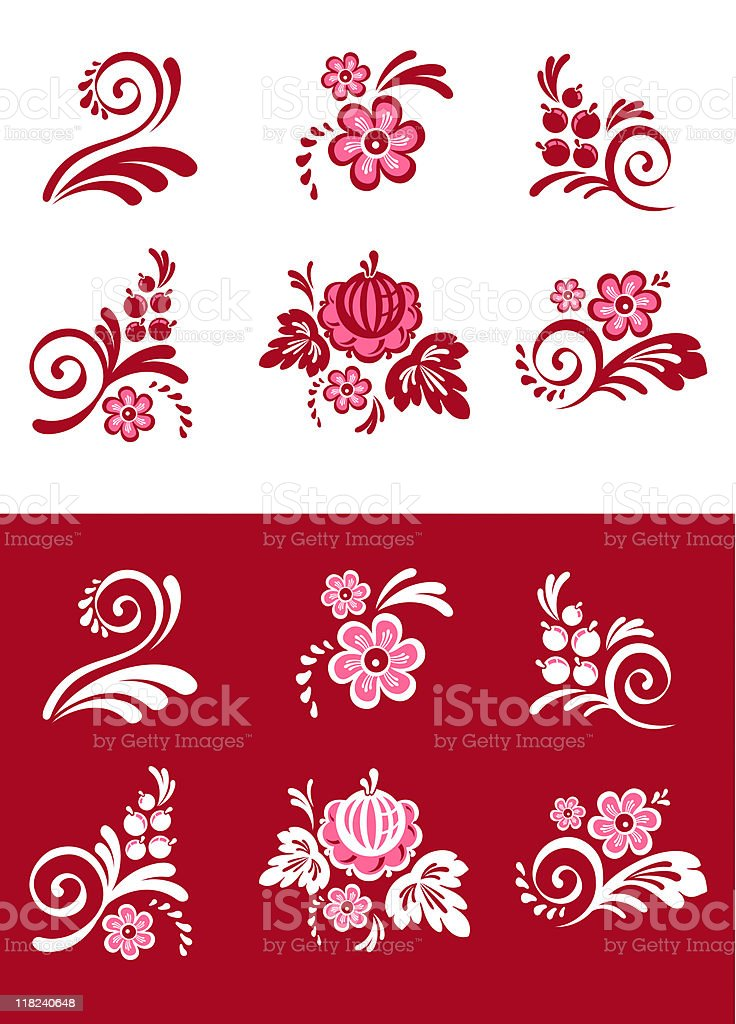 set of floral symbols royalty-free stock vector art