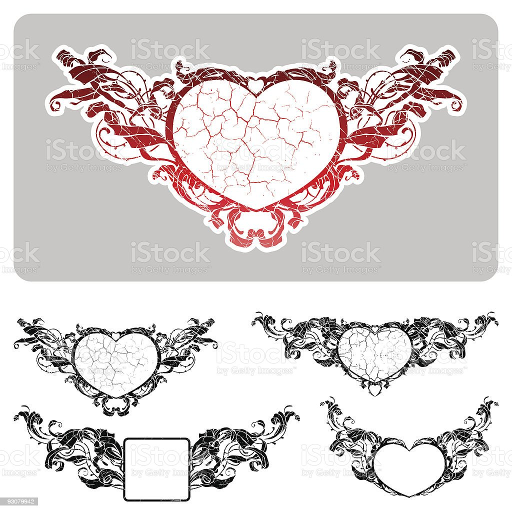 Set of floral textured frames royalty-free stock vector art