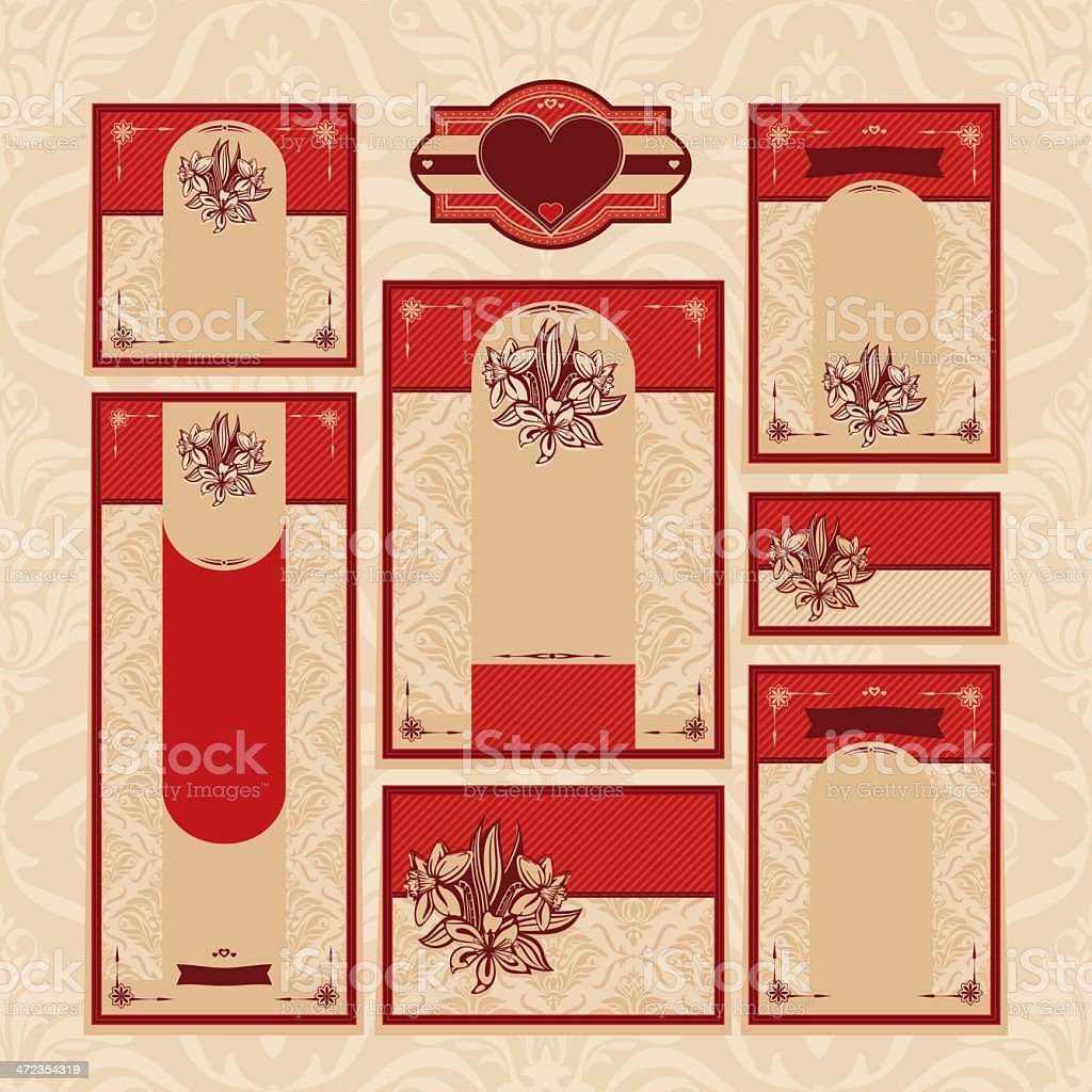 set of floral wedding cards royalty-free stock vector art
