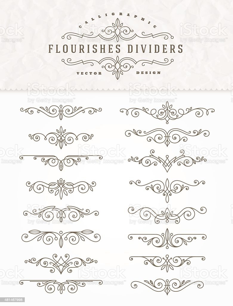 Set of flourishes calligraphic elegant ornament dividers - vector illustration vector art illustration