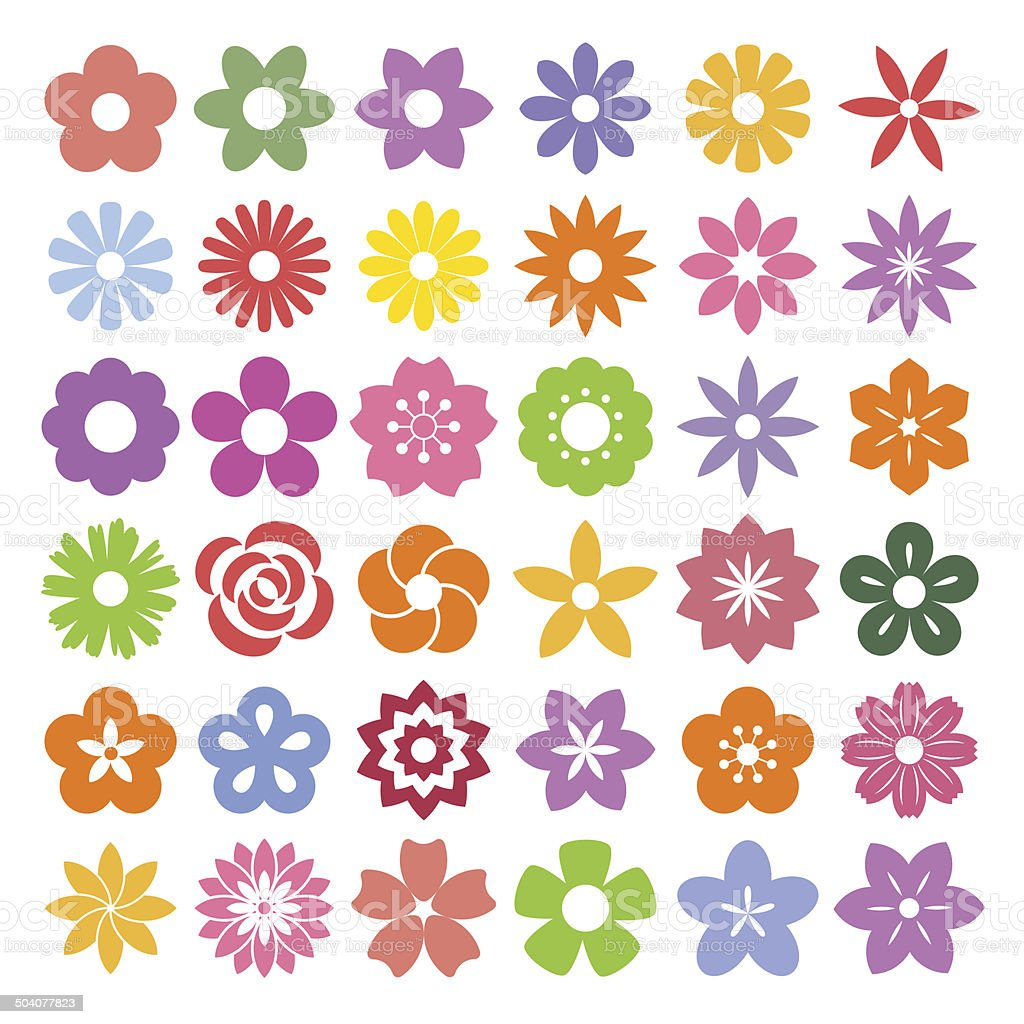 Set of Flower icons. vector art illustration