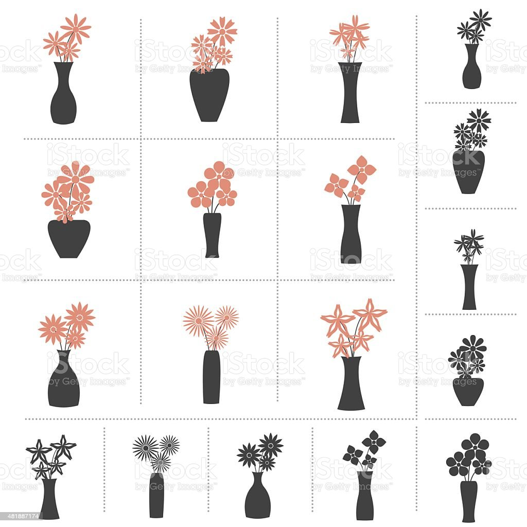 Set of Flowers in Vase Collection vector art illustration