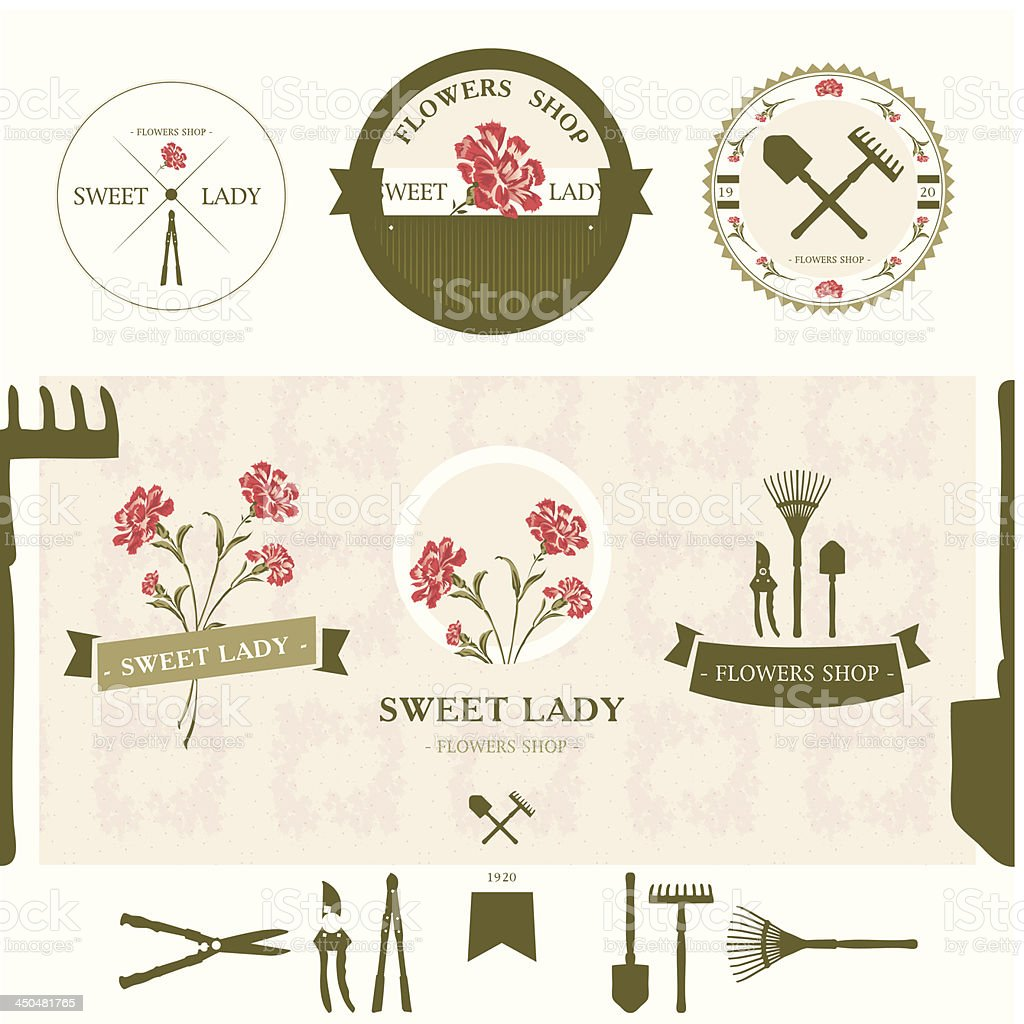 Set of flowers shop labels and design elements royalty-free stock vector art