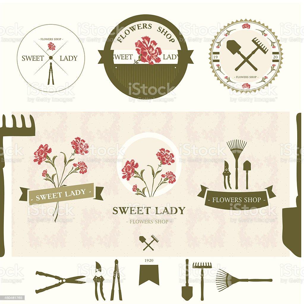 Set of flowers shop labels and design elements vector art illustration