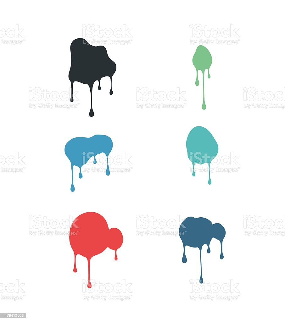 set of fluid stains vector art illustration