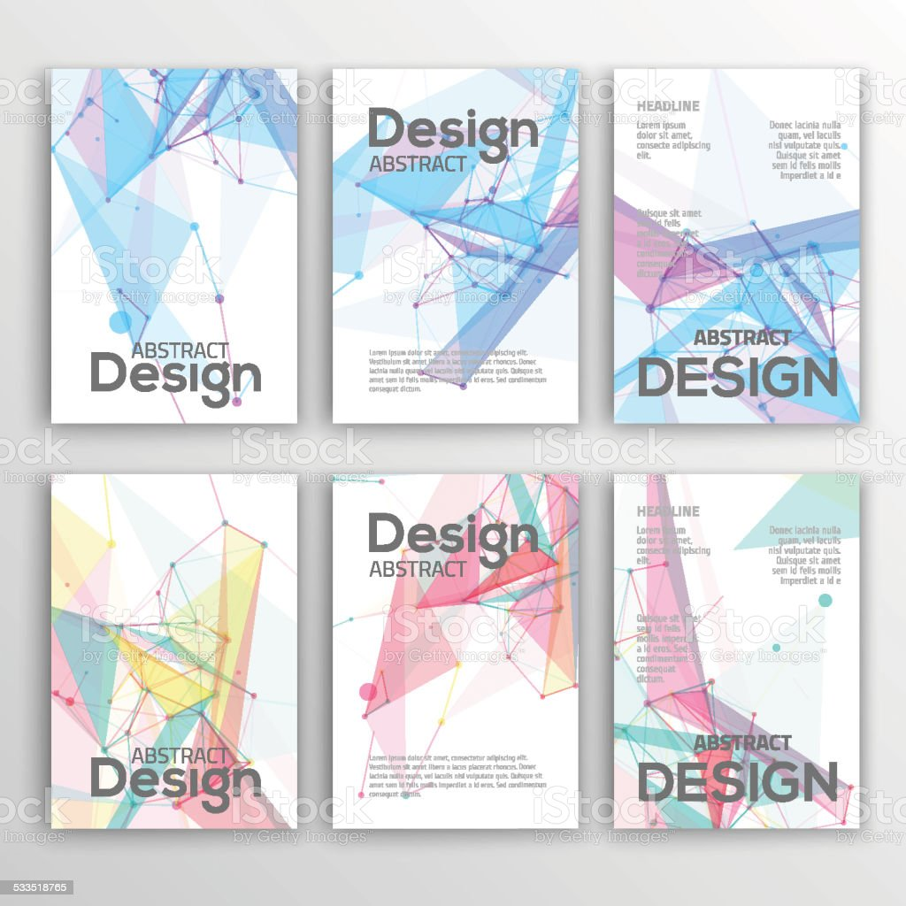Set of Flyer, Brochure Design Templates. Geometric Abstract Modern Backgrounds. vector art illustration