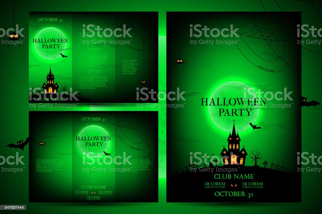 Set of flyers for halloween royalty-free stock vector art