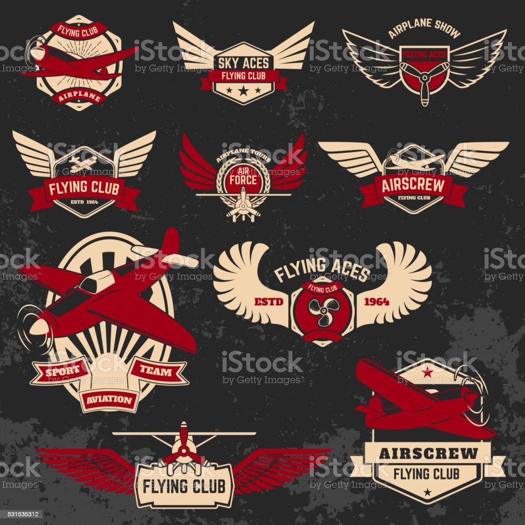 Set of flying club labels and emblems on grunge background. vector art illustration