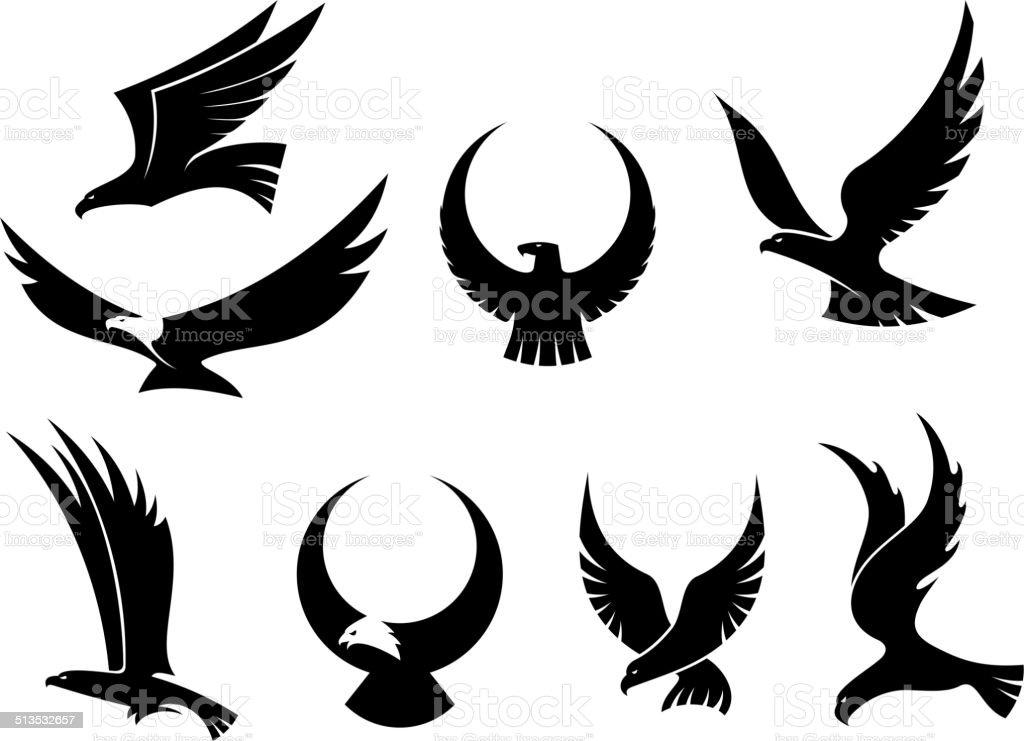 Set of flying eagles vector art illustration