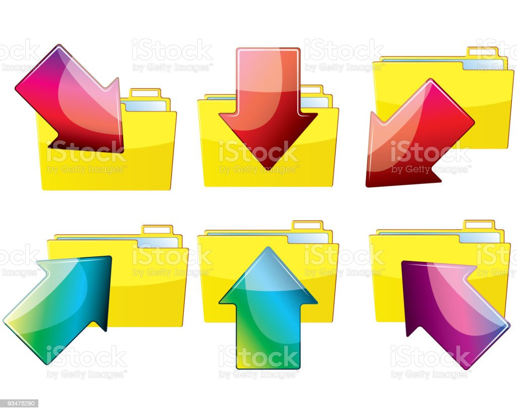 Set of folders with arrows royalty-free stock vector art