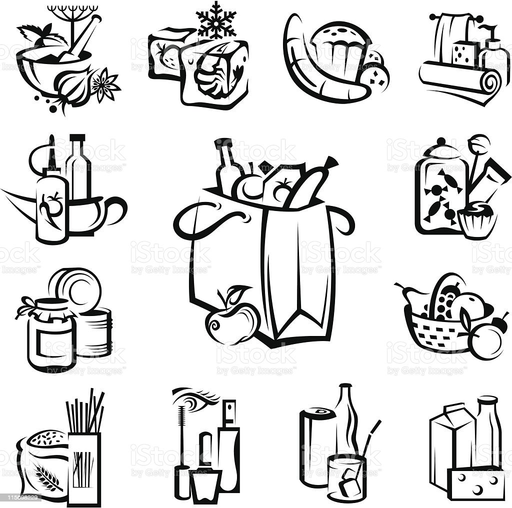 set of food and goods icons vector art illustration