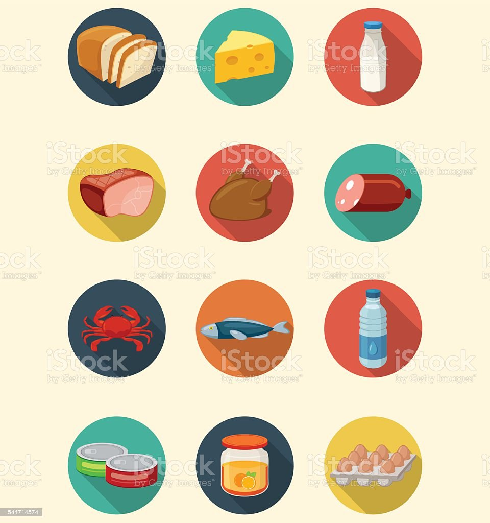 Set of food and products icons. Flat design icons. Vector vector art illustration