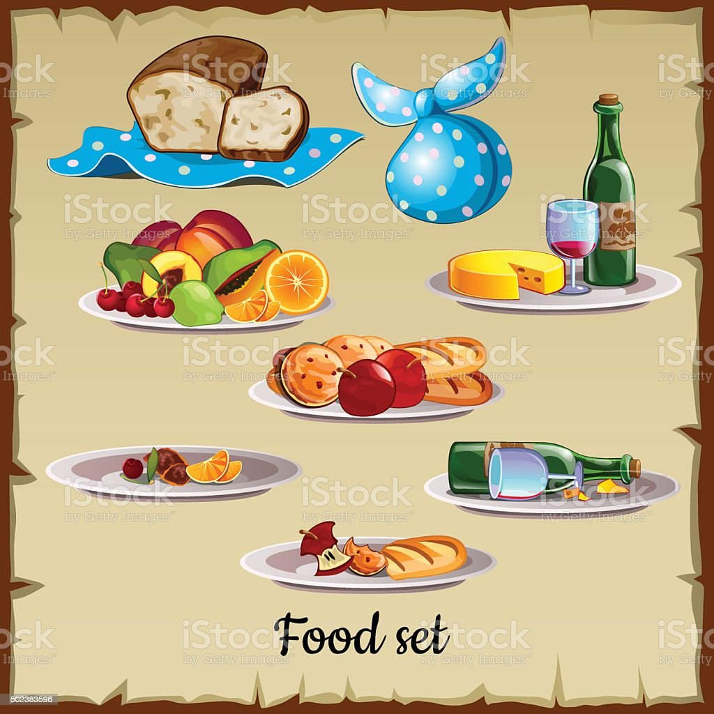 Set of food and waste vector art illustration