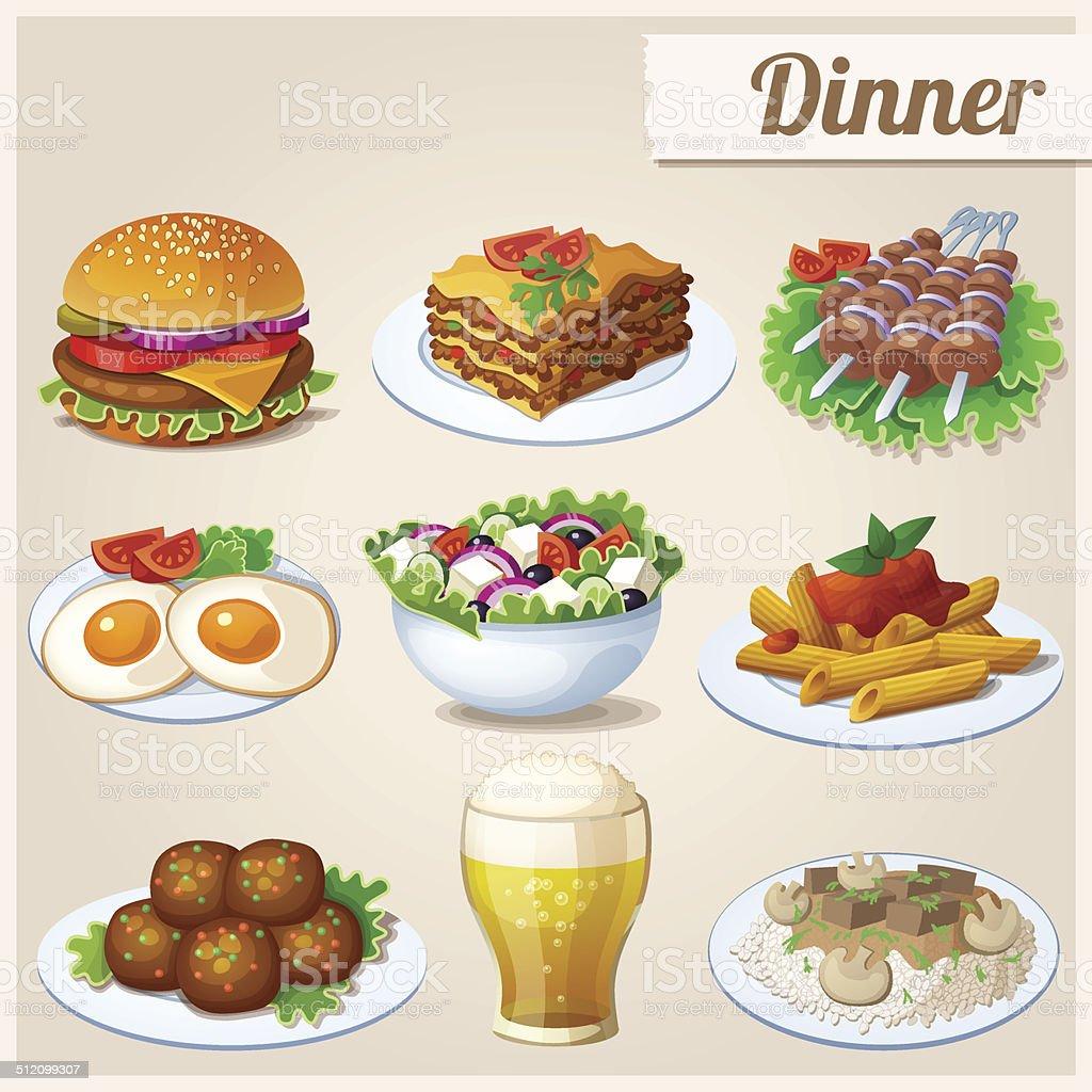 Set of food icons. Dinner. vector art illustration