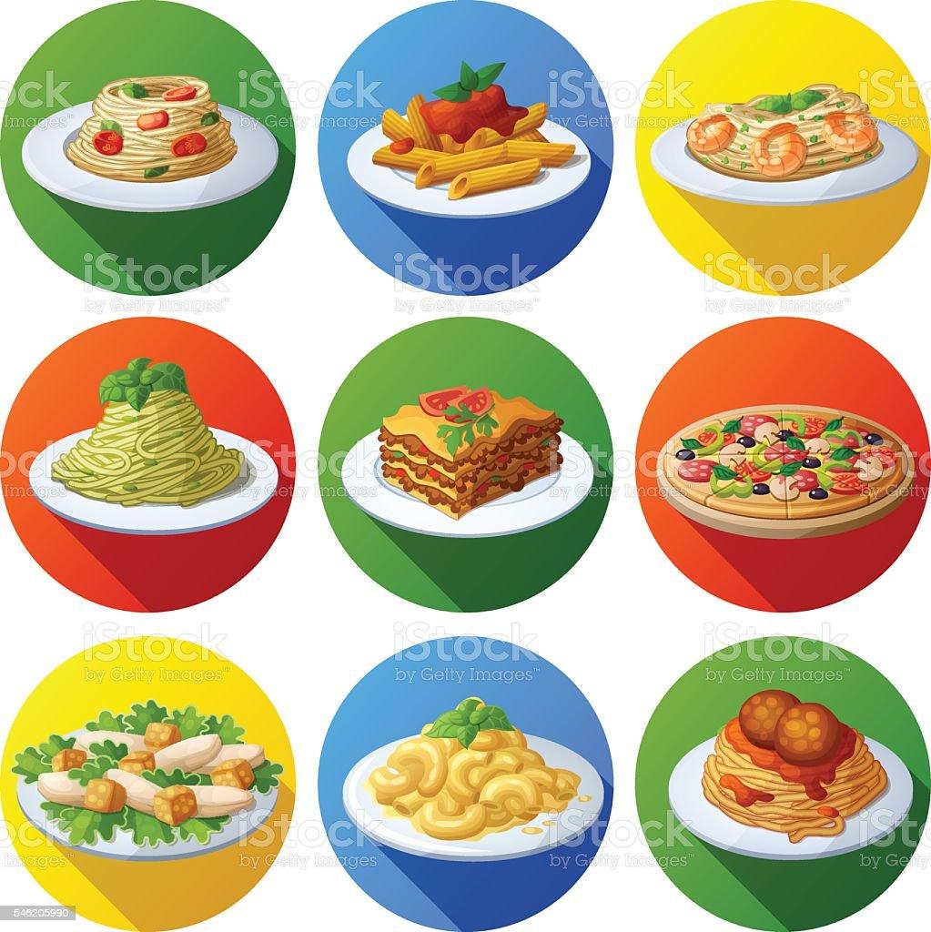 Set of food icons. Italian cuisine vector art illustration