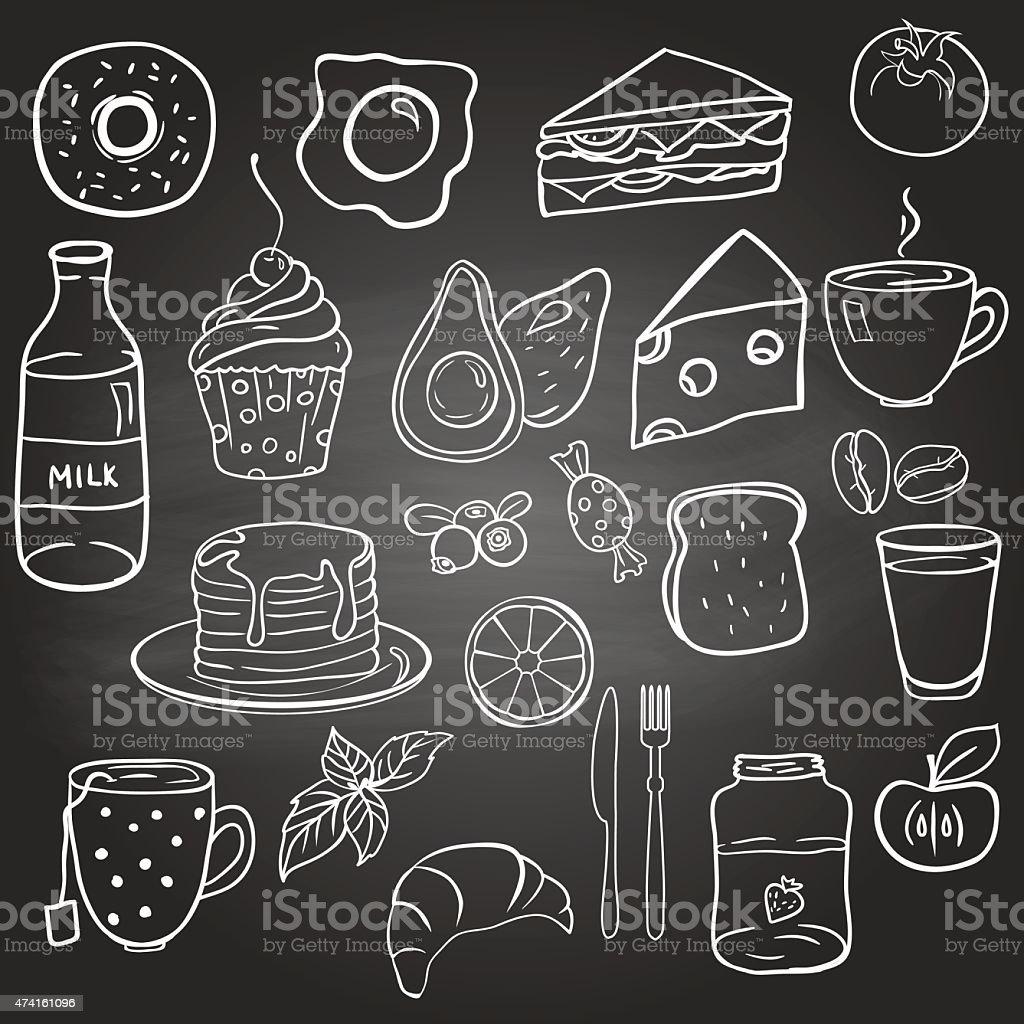Set of food on the blackboard vector art illustration