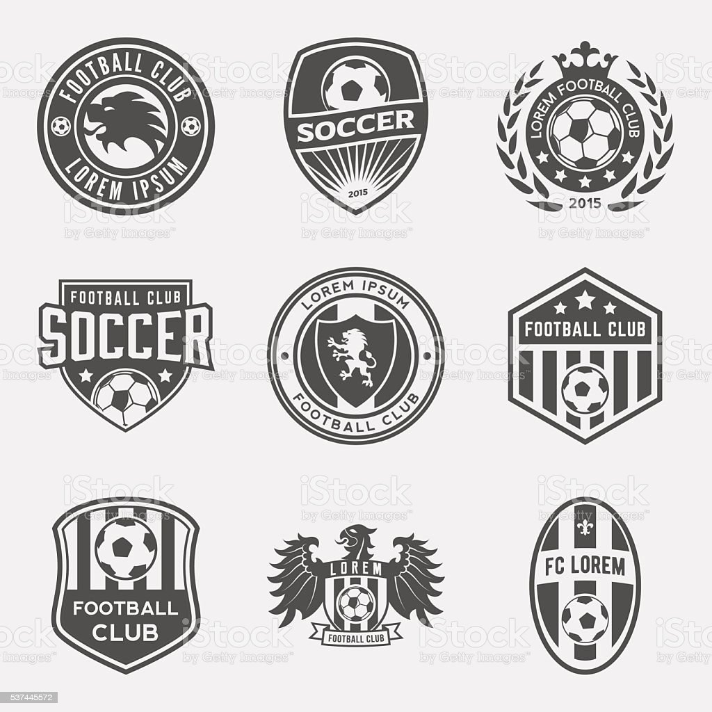 set of football (soccer) crests and logos vector art illustration