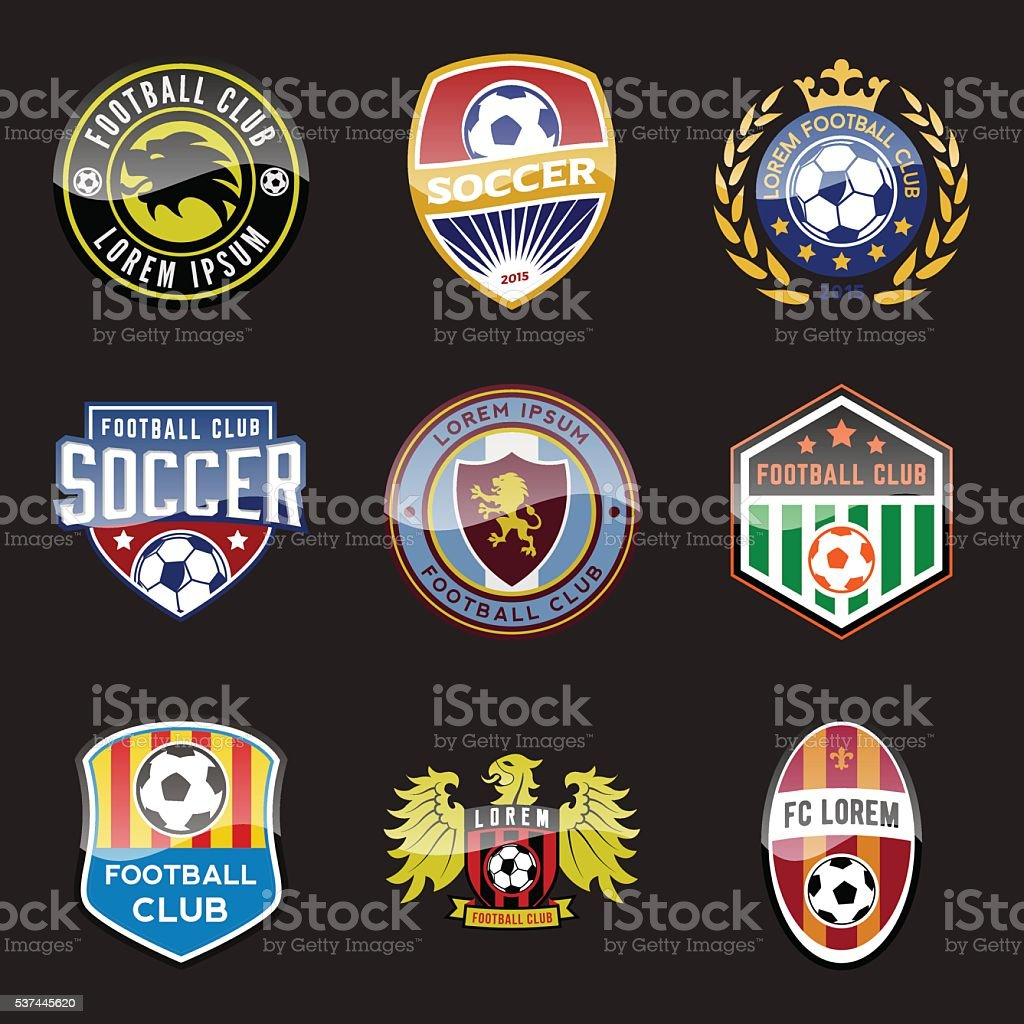 set of football (soccer) crests and logos vector art illustration