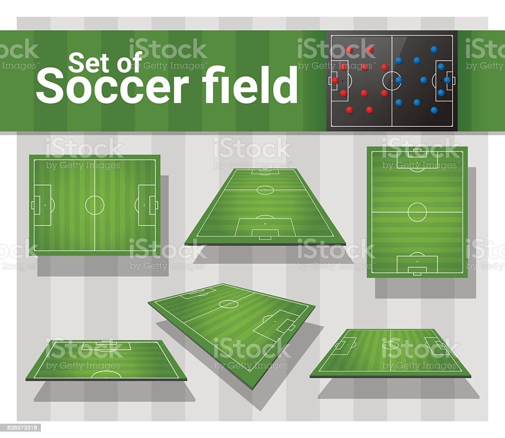 Set of football field vector art illustration