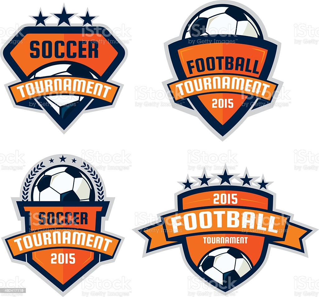 set of football logo design , soccer  shield , vector illustrati vector art illustration