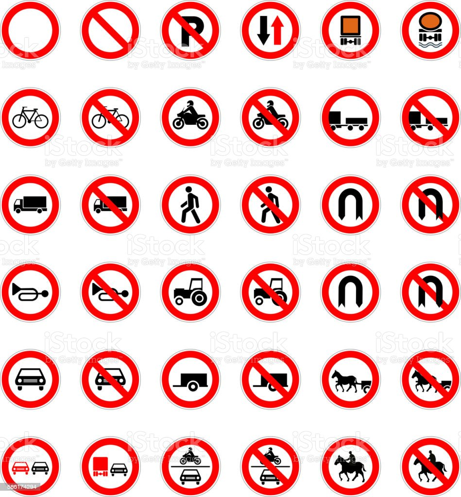 Set of forbidden road signs isolated on white vector art illustration