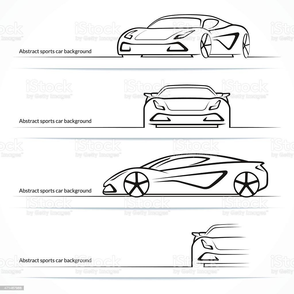 Set of four abstract sports car silhouettes. vector art illustration