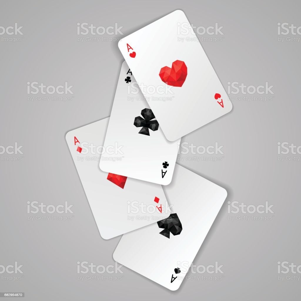 Set of four aces playing cards suits vector art illustration
