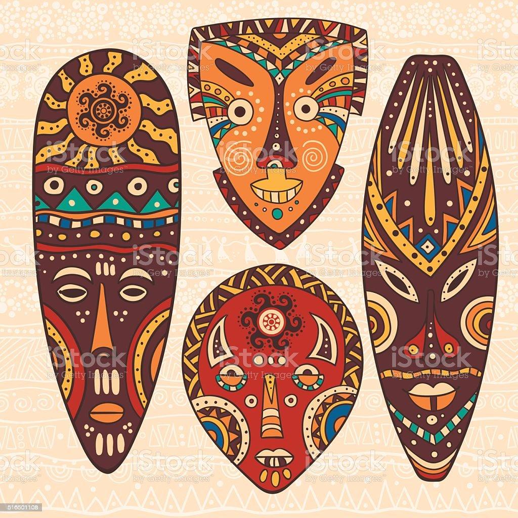 Set of four African masks vector art illustration
