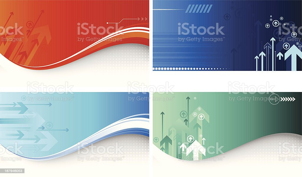 Set of four assorted arrow backgrounds royalty-free stock vector art