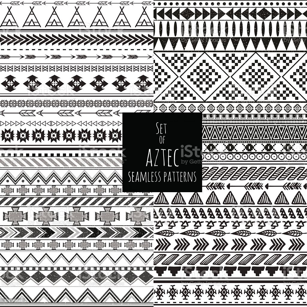 Set of four aztec seamless blackand white color patterns vector art illustration