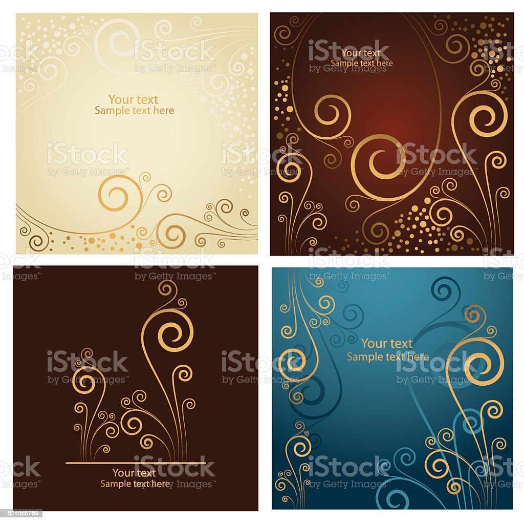 Set of four beautiful golden abstract floral background vector art illustration