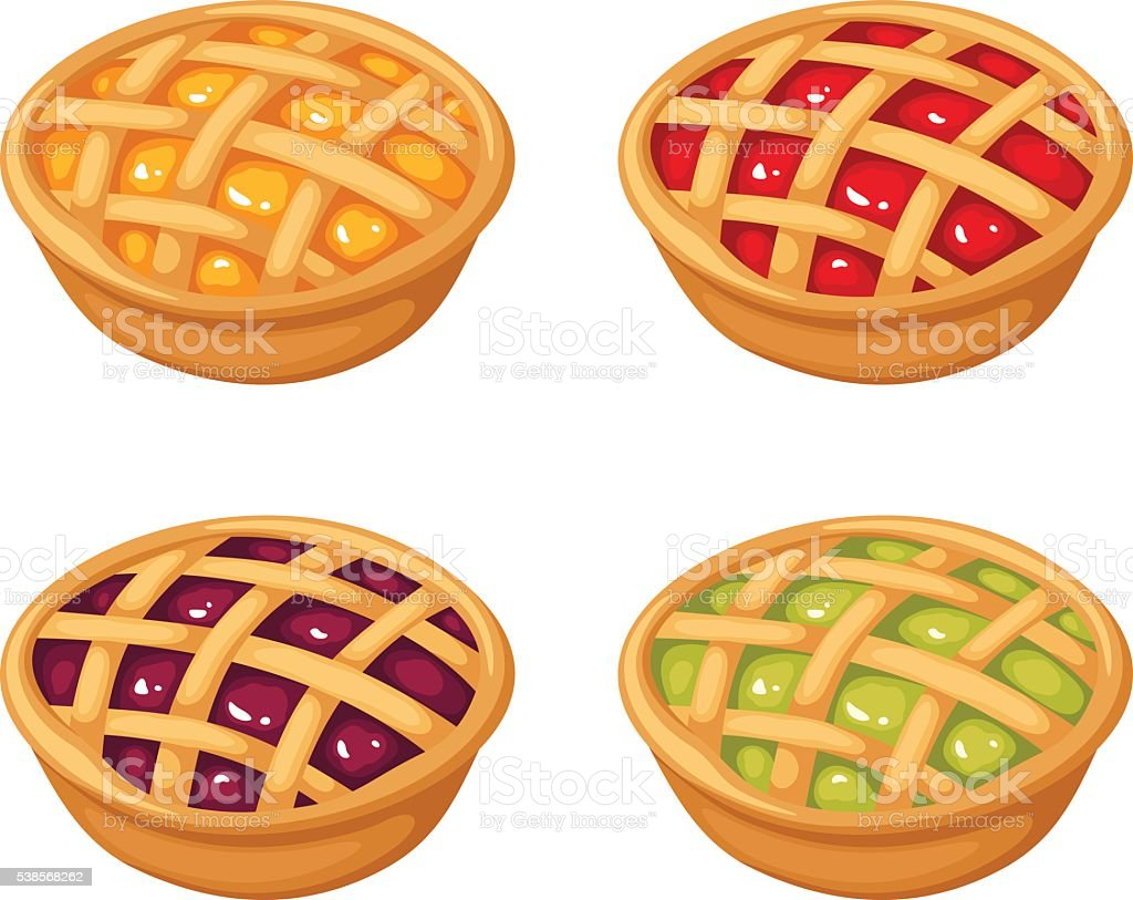 Set of four berry crumble pies. Vector illustration. vector art illustration