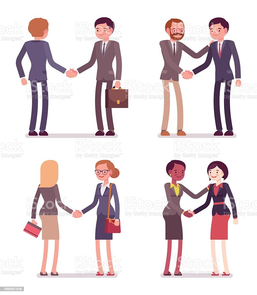 Set of four business pairs handshaking vector art illustration