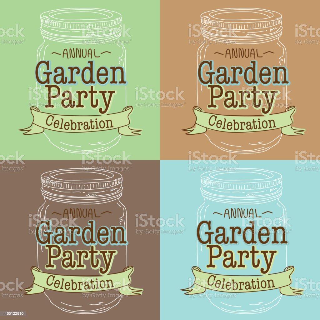 Garden Graphic Design dreaming in the garden Set Of Four Canning Jar Spring Garden Party Designs Royalty Free Stock Vector Art