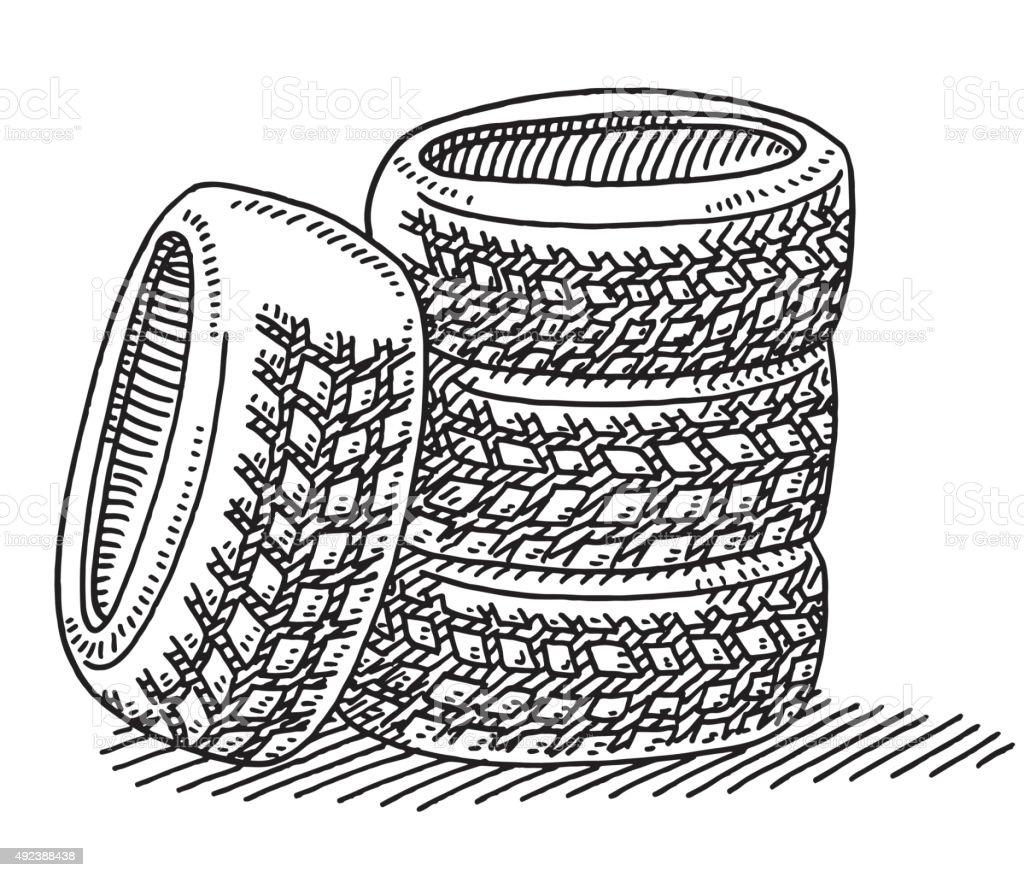Set Of Four Car Tires Drawing vector art illustration