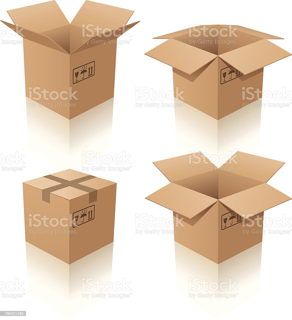 Set of four cardboard boxes on white background vector art illustration
