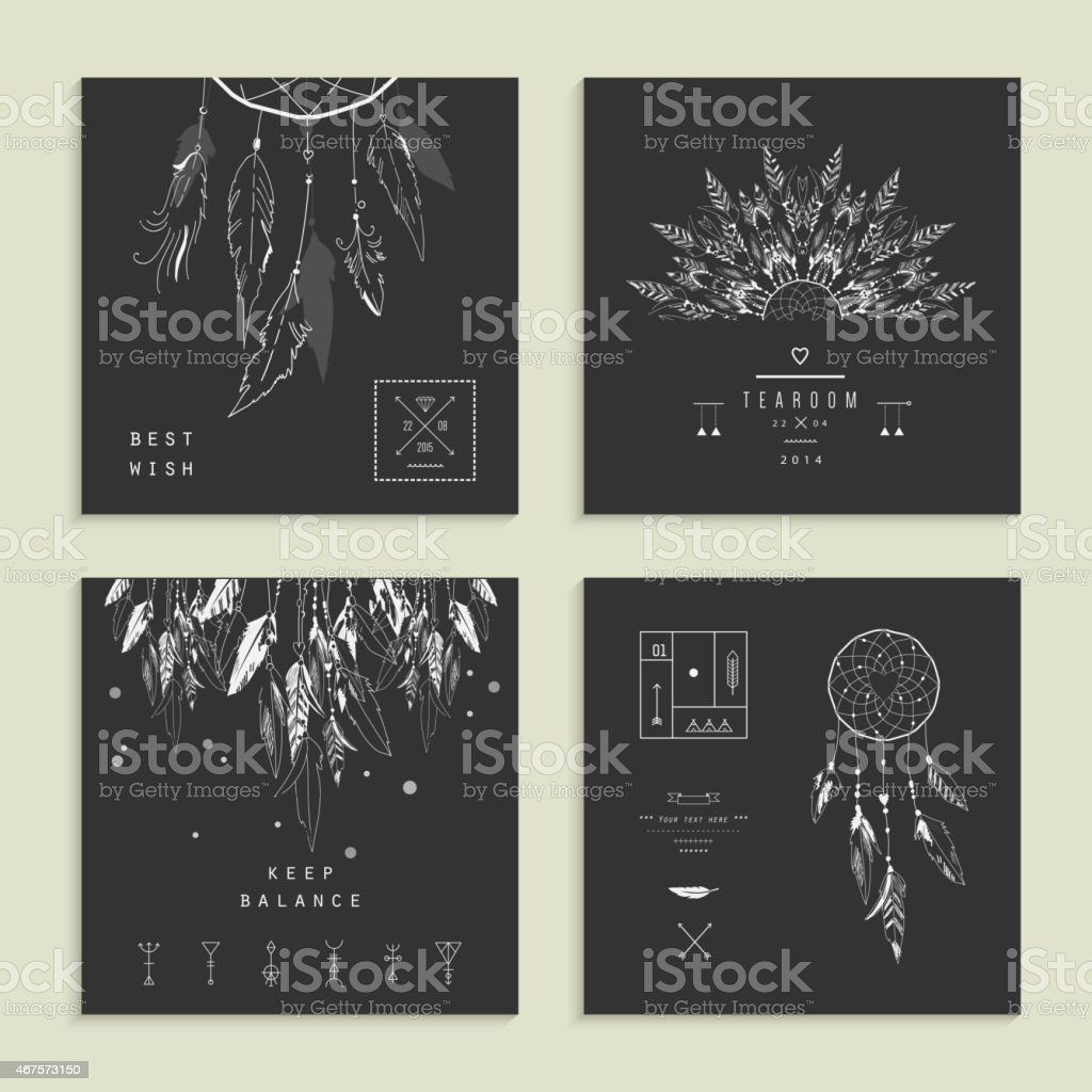 Set of four cards with Dream Catcher. vector art illustration