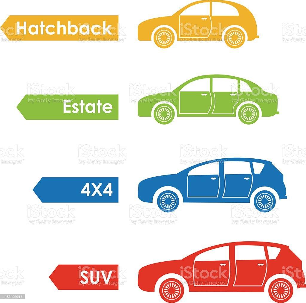 set of four cars vector art illustration