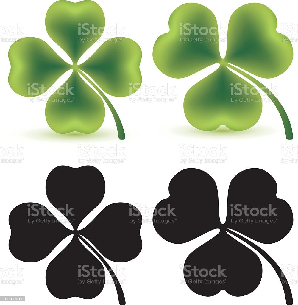 Set of four clovers in green and black vector art illustration