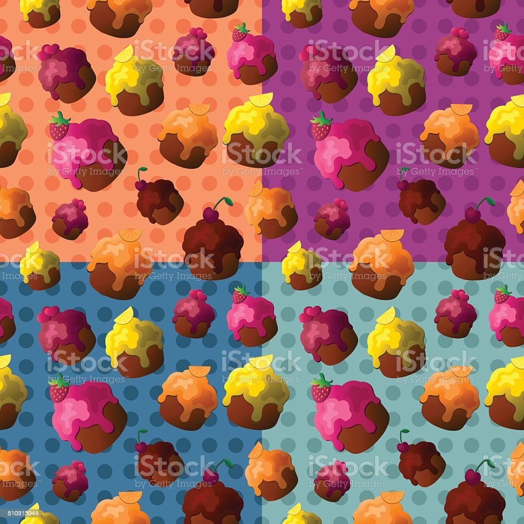 Set of four colorful seamless patterns with cupcakes. vector art illustration