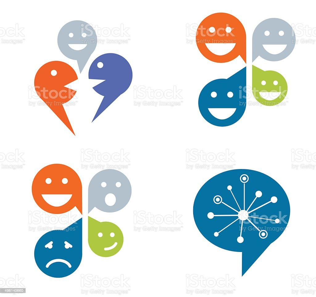 Set of four designs for social networking concept vector art illustration