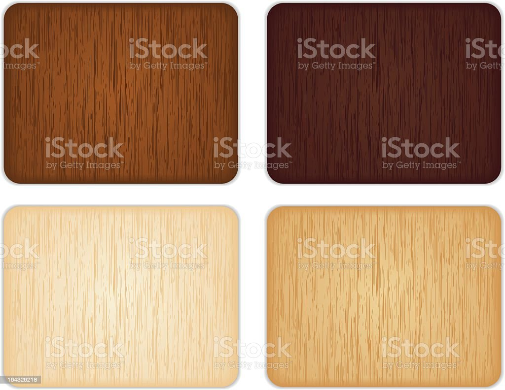 Set of four different color wooden squares on white back vector art illustration