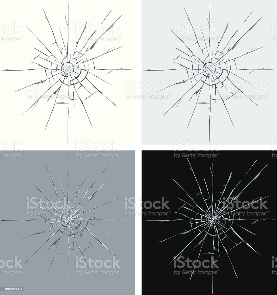 Set of four different colors of cracked screen graphic vector art illustration