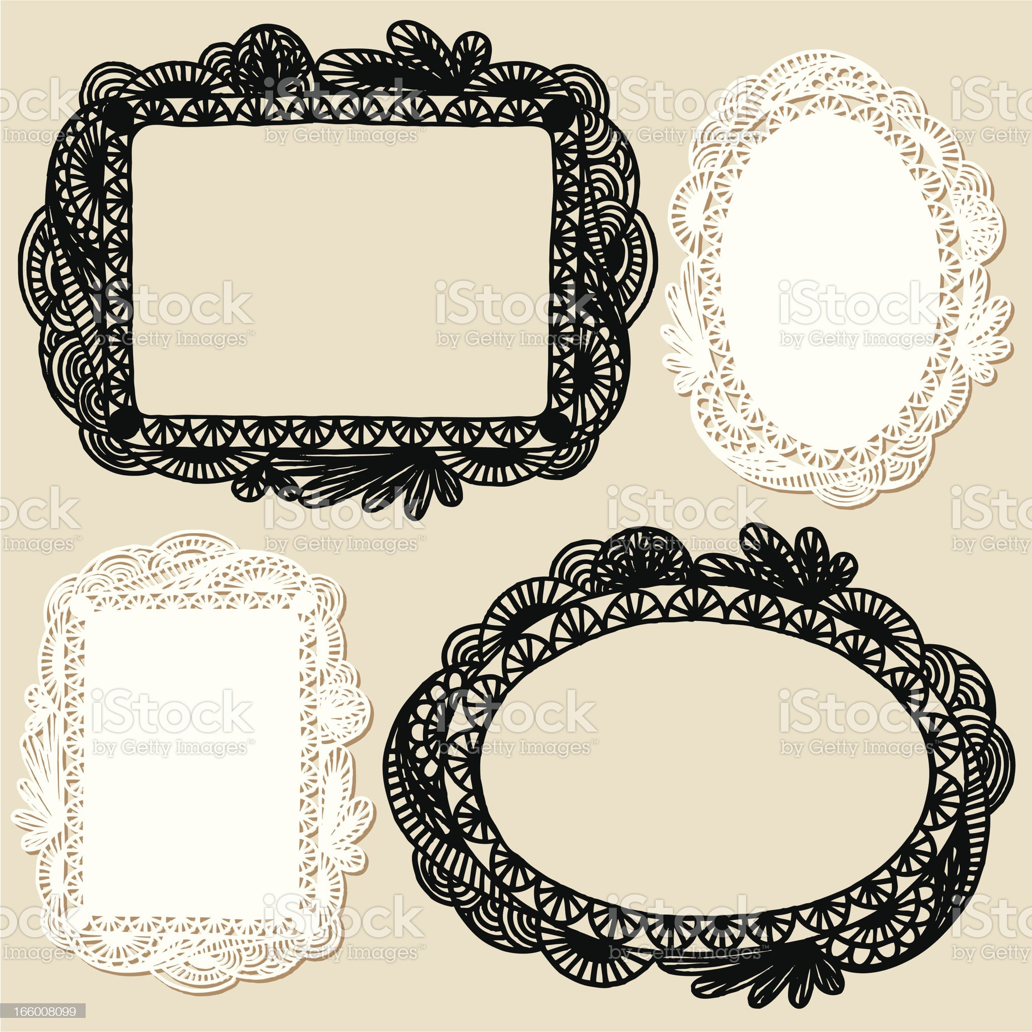 Set of four different hand drawn frames royalty-free stock vector art