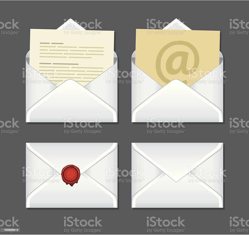 Set of four envelope icons open and closed royalty-free stock vector art