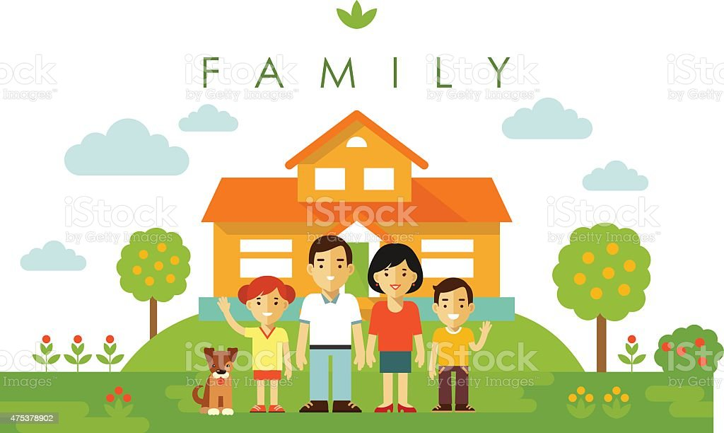 Set of four family members posing together in flat style vector art illustration
