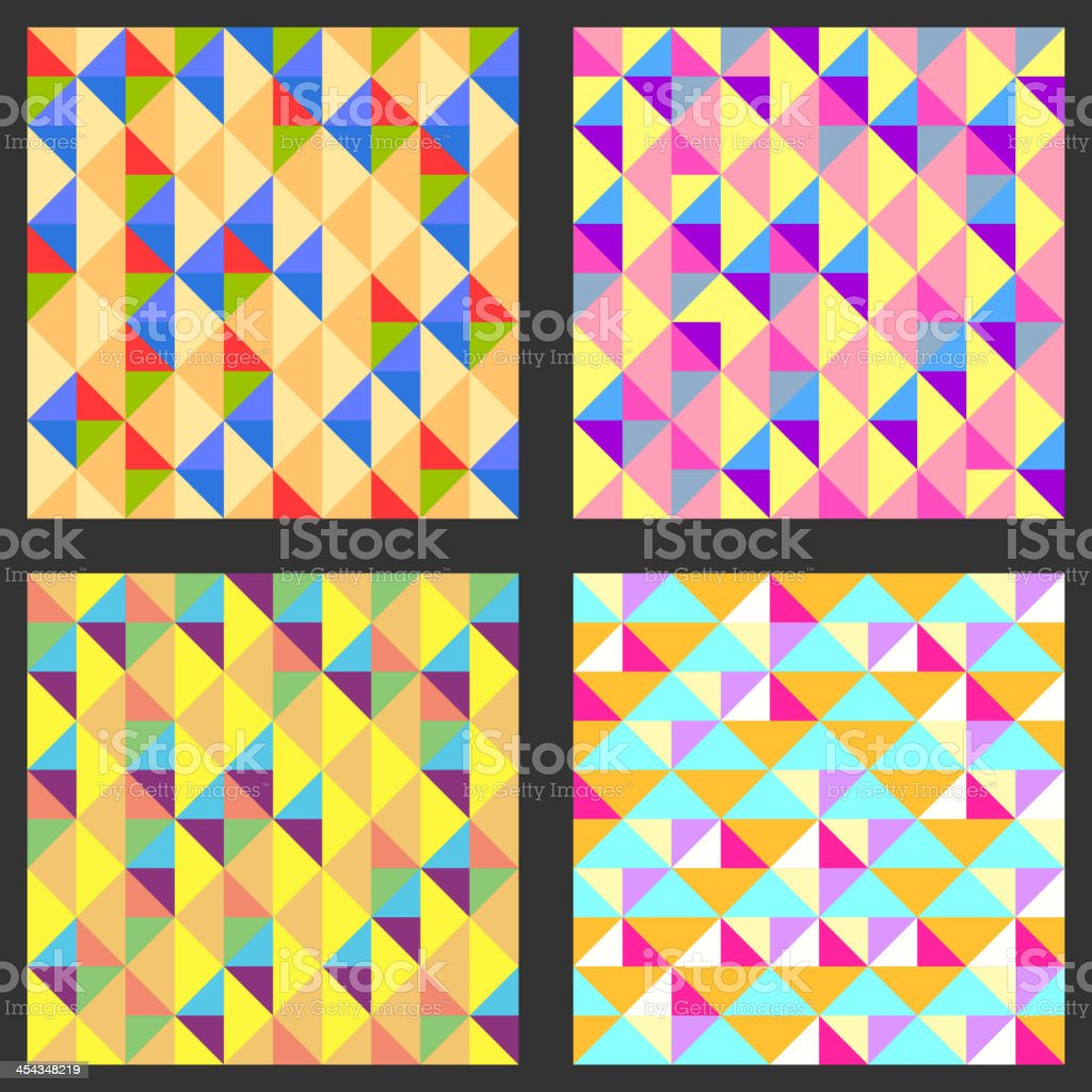 Set of four geometric pattern. Texture with triangles, rhombs. royalty-free stock vector art