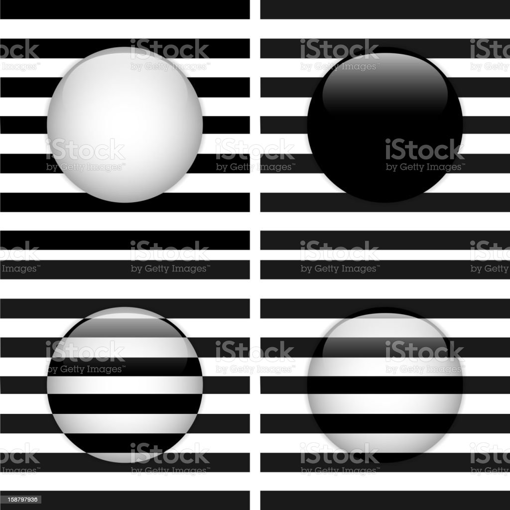 Set of Four Glass Circle Black and White Stripes vector art illustration