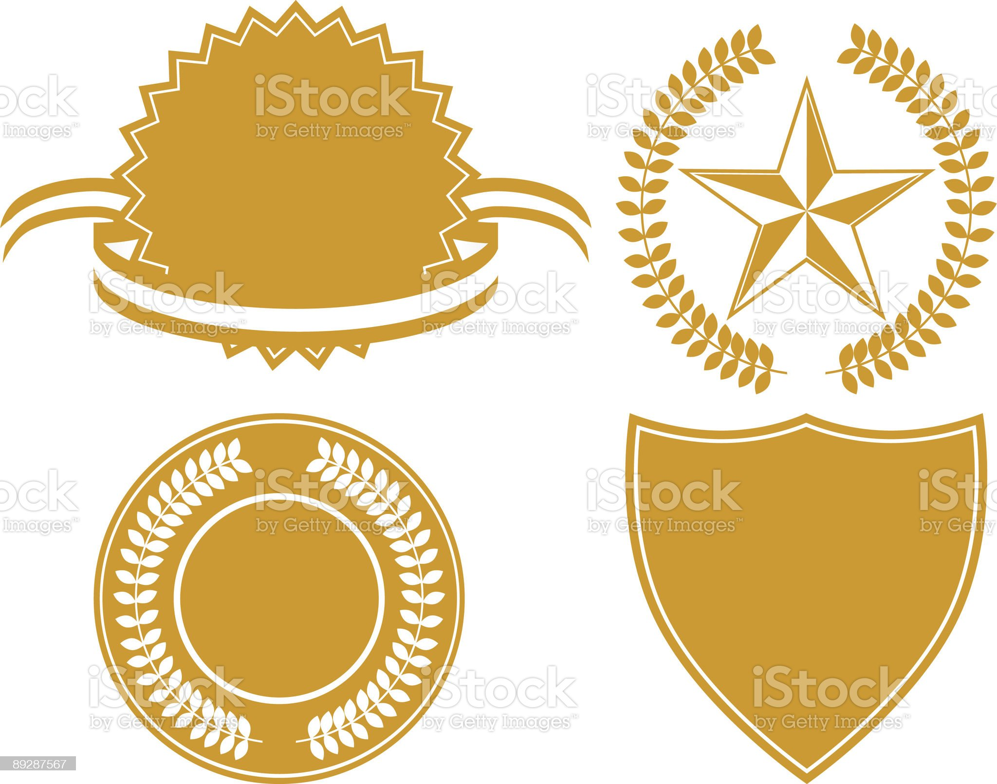 A set of four golden certificate icons on white background royalty-free stock vector art
