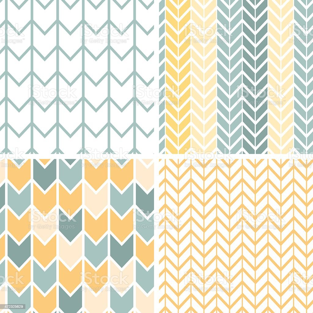 Set of four gray yellow chevron patterns and backgrounds vector art illustration